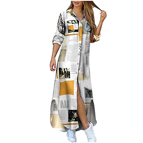 Vestido Largos de Manga Larga con Botones Mujer Bohemio Verano Nacional Fiesta Cuello en V Costura Wrap Maxi Vestidos Chic de Noche Playa Vacaciones Cóctel Falda Larga Talla Grande(E01 Blanco,XL)