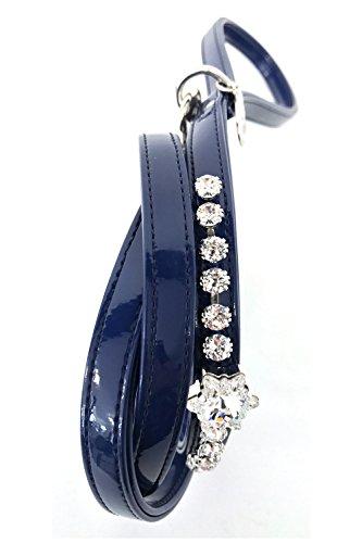 Gerardo riem, hondenriem met Swarovski ketting en kristallen, Gerardo-lijn, 20mm, Blauw