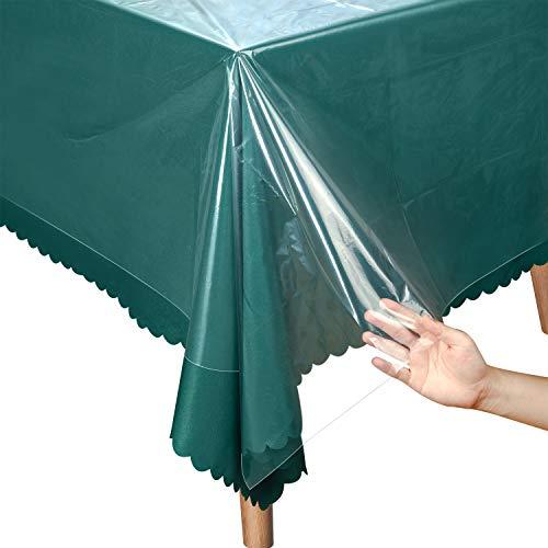 Boao Mantel de Plastico de 51 x 71 Pulgadas Protector de Cubierta de Mesa Funda de Mesa Impermeable Rectangular para Cocina Comedor, 1,2 Mil, 0,03 mm (Transparente,4 Piezas)