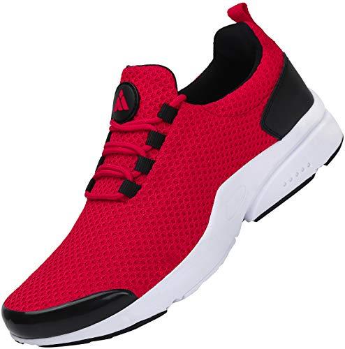 Mishansha Sin Cordones Zapatos Casuales para Hombre Mujer Absorción de Sudor Zapatillas Casual Clásico Elegante Zapato Planos para Correr Aptitud Trekking Caminando Shoes, Sneaker Rojo 40