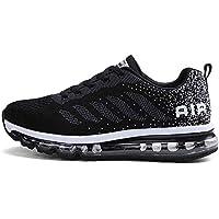 Zapatillas de Deportes Hombre Mujer Zapatos Deportivos Aire Libre para Correr Calzado Sneakers Gimnasio Casual(833-BK44)