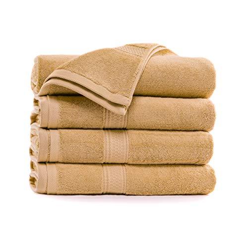 Royal Comfort World Famous 100% toalla de baño tamaño 27 x 54 a 18 libras pe dz peso. Paquete de 4 toallas. No te conformes con menos, toallas para piscina, gimnasio, spa y dormitorio (bronceado, 4)