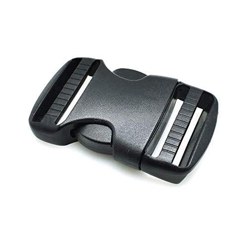 5 hebillas de plástico duro de doble liberación, liberación lateral ajustable, para cinturones y mochilas, tamaño: 20 mm, 25 mm, 32 mm, 38 mm y 50 mm 20 mm