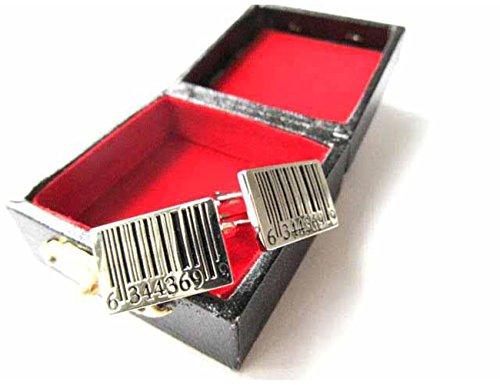 Strichcode Manschettenknöpfe Miniblings Knöpfe + Box Barcode Code Scanner silber - 6