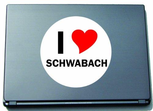 I Love Aufkleber Decal Sticker Laptopaufkleber Laptopskin 210 mm mit Stadtname SCHWABACH
