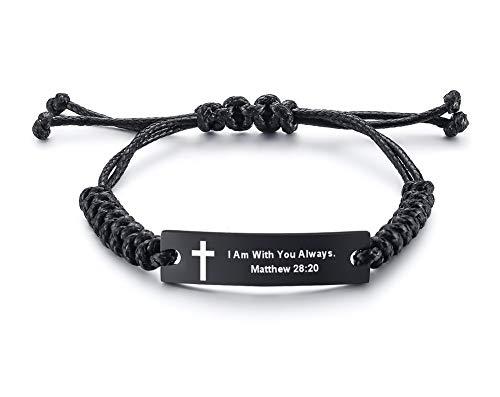Unisex Religous Scripture Quote Faith Christian Bible Verse Adjustable Cord Stainless Steel Inspirational ID Bracelets for Men Women