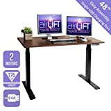 Seville Classics AIRLIFT 48' Electric Height Adjustable Desk with 2.4A USB Charging Port, Dual Motor, 2-Section Sit-Stand Table, Wood (/w, Black/Walnut