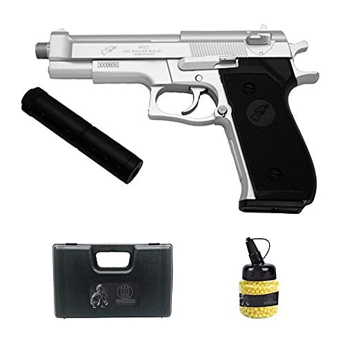 Pistola Double Eagle M22 Plata (Muelle) | Pistola de Airsoft (Bolas de plástico 6mm) Tipo Beretta 92 + maletín de PVC + biberón de munición