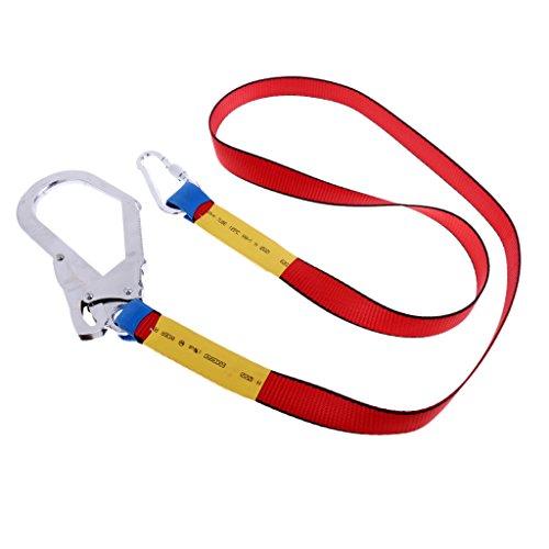 MagiDeal Cinturino per Arrampicata Outdoor Cordino di Sicurezza Protezione Anticaduta con Moschettone - Rosso, 180 x 2,8 cm
