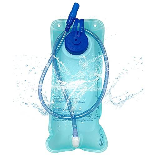 LSEEKA Botella de agua de gran capacidad de 2 litros, bolsa de hidratación para seguridad y protección del medio ambiente, sin BPA, con tapa protectora, para ciclismo, senderismo, montañismo