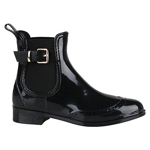 Damen Stiefeletten Chelsea Boots Lack Schnallen Gummistiefel Schuhe 144460 Schwarz Schnalle 39 Flandell