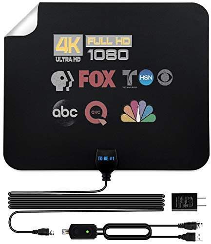 Amplified HD Indoor TV Antenna Long 250+ Miles Range - Amplifier Signal Booster - Support 4K 1080p Fire tv Stick and All Older TV + 16.5 ft Coax HDTV Cable AC Adapter