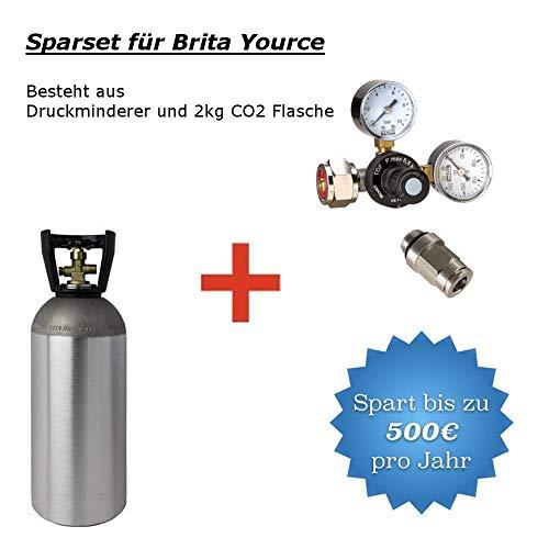 CO2 Druckminderer inkl. 2 kg CO2 Flasche geeignet für Brita Yource System Wassersprudler Sprudelsystem Sprudelgerät Sprudler