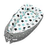 Nido Bebé Recién Nacido de Algodón 100% Antialergenico con Dos Cintas Ajustables Reductor de Cuna nidos para Bebé Dormir viajar 80 × 50cm (AZUL)