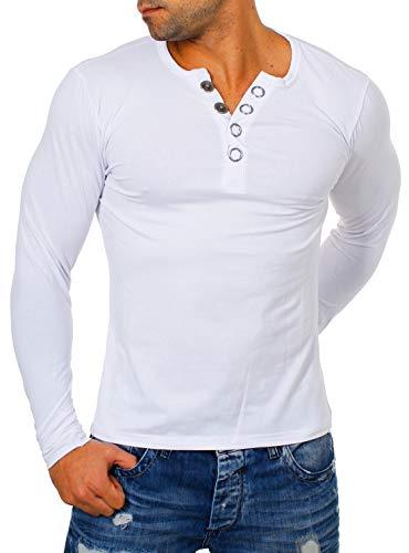 Young & Rich Herren Longsleeve Langarm T-Shirt Knopfleiste mit extra großen Metall Knöpfen Slimfit Big Buttons 2872, Grösse:L, Farbe:Weiß