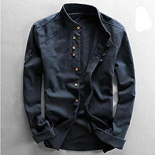 YSY-CY Camisas de lino y algodón para hombre, camisas informales de manga larga ajustadas con cuello mandarín, camisas de playa de verano de alta calidad, tallas grandes 6xl Suitable for outdoor trave