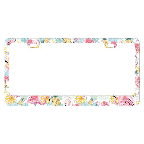 EXMENI Pink Flamingos License Plate Frame Funny Pineapple Plate Frame Tropical Fruits License Plate Cover Colorful Car Tag Frame Flowers Design Car Accessories with 2 Holes and Screws