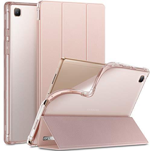 INFILAND Hülle für Samsung Galaxy Tab A7 10.4 Zoll (SM-T500/T505/T507) 2020, Samsung Tab A7 Hülle, Transluzent TPU Schutzhülle Hülle mit Auto Schlaf/Aufwach,Rosa Goldene