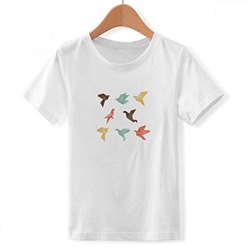 DIYthinker Pájaro Colorido patrón de Origami Abstracta con Cuello Redondo de la Camiseta para Chico Multicolor Grande