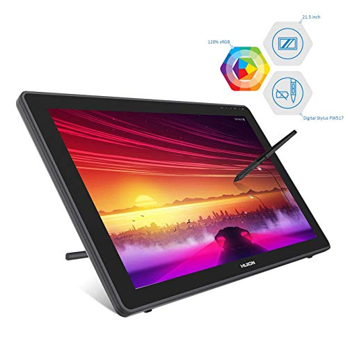 HUION Kamvas 22 Graphic Tablet with Screen, 2020 New 21.5 Inch Graphic Drawing Monitor, with Newest Battery-free Stylus PW517, Support Android Device, Ideal for working from home and remote learning