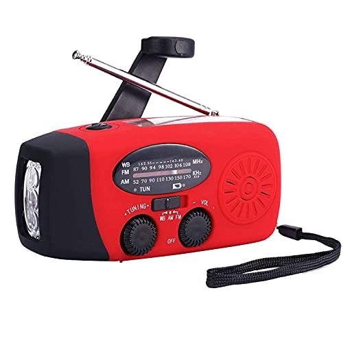 DealMux Radio Solare Not Funk Am/Fm/Wb Wetterr Adio Radio a Manovella con 3 Led Lampada Tascabile 1000 Mah Come Telefono Power Bank