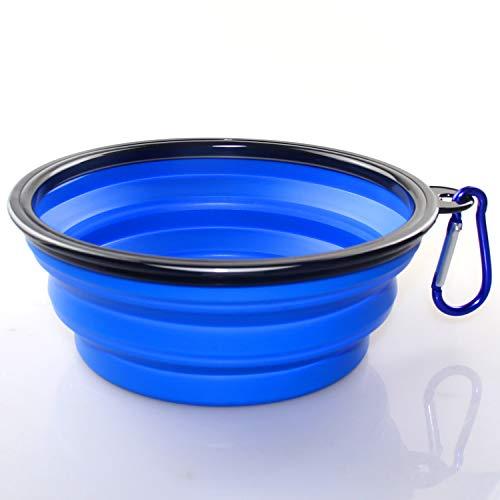 KAEHA SUN-011-02 Grande Bebedero Portatil Plegable Perro de Viaje Silicona Comederos, Azul