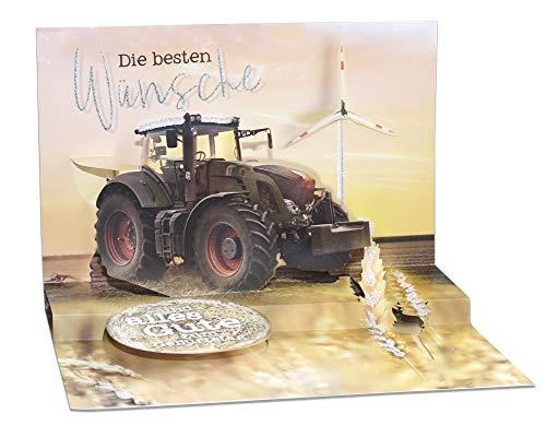 3D Pop – UP Karte Geburtstag, mit Glitter, Geburtstagskarte 3D, POP - UP Karten, POP UP Karten Geburtstag, Motiv: Traktor