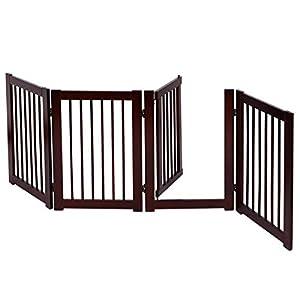 COSTWAY Barrera de Puerta de Seguridad Rejilla para Perros Mascotas Puerta Escalera Protección Plegable de Madera (203 x 76 x 1,8cm)