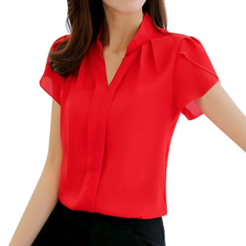 iHENGH Women Summer Work Office V Neck Short Sleeve Solid Chiffon Blouse Plus Shirt Top(Rot, 3XL)