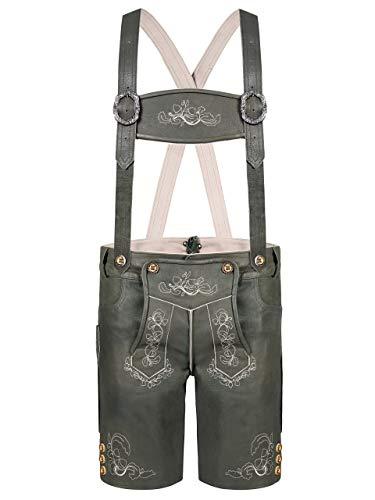 Almbock Lederhose kurz grau - Lederhose kurz mit blumigen Ornamenten Bestickt - Lederhose kurz Herren antik - Trachten Lederhosen Herren kurz 50