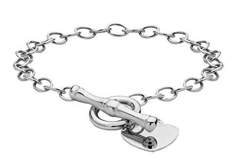 Tuscany Silver Women's Sterling Silver 15.7 x 20.4 mm Heart Charm Belcher Chain T-Bar Bracelet of Length 19 cm/7.5 Inch