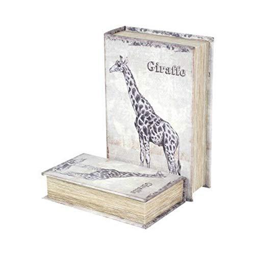 CAPRILO Set de 2 Cajas Libro Decorativas de Madera y Tela Jirafa. Cajas Multiusos. Joyeros. Regalos Originales. Decoración Hogar. 7 x 27 x 18 cm.