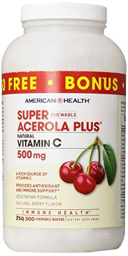 American Health, Super Acerola Plus a croquer, vitamine C naturelle, 500 mg, gout naturel a la cerise, 300 Gaufrettes à  croquer