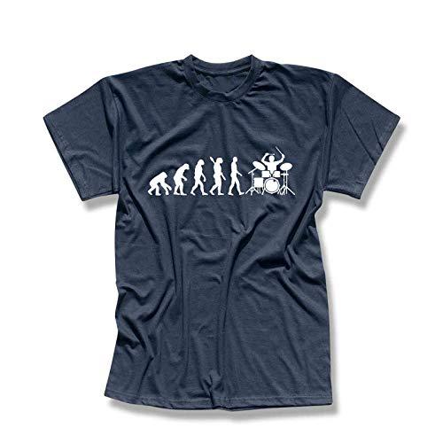 T-Shirt Evolution Drummer Schlagzeug Tama Pearl Gretsch Evo Yamaha Ludwig Roland Remo Band Musik Musiker 13 Farben Herren XS-5XL, Größe:L, Farbe:Navy - Logo Weiss