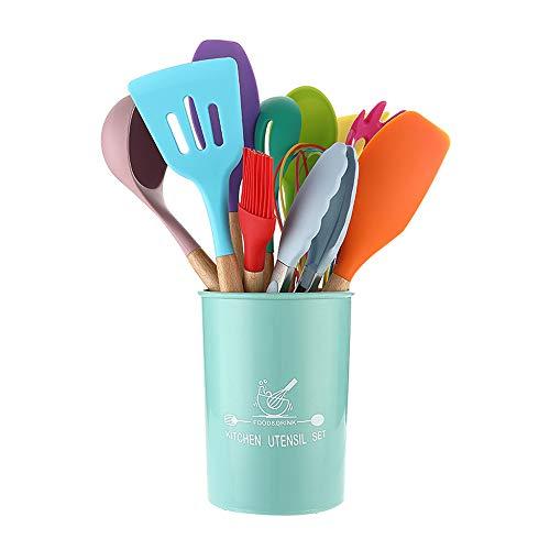 12 Piezas Utensilios Cocina de Silicona, Juego de Utensilios de Cocina de Silicona Antiadherente, Resistente al Calor y a Los Arañazos (Multicolor)
