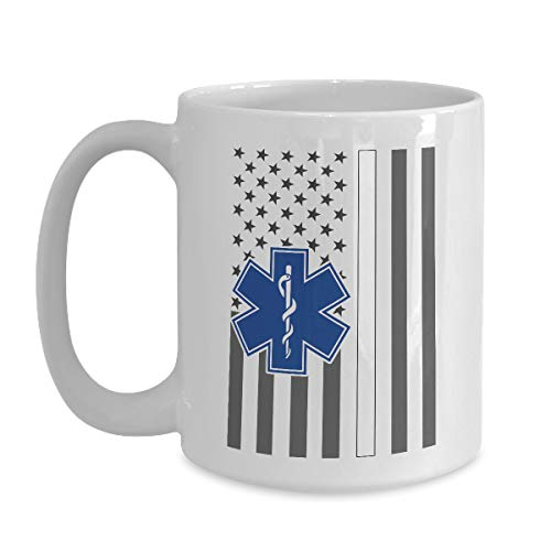 Best American Flag Mug Thin White Line EMS - 11 oz White Coffee, Tea Mug First Responder Cup