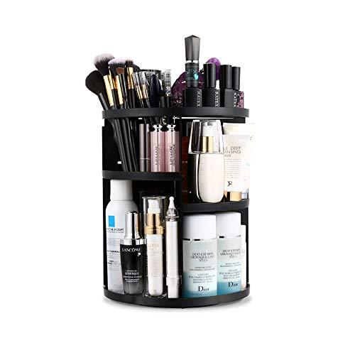 360 Rotating Makeup Organizer, DIY Adjustable Makeup Carousel Spinning Holder Storage Rack, Large Capacity Makeup Caddy Shelf Cosmetics Organizer Box, Best for Countertop (Black)