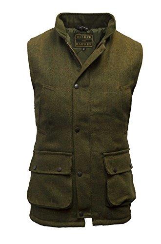 Walker and Hawkes Herren Country-Weste aus Tweed - für die Jagd geeignet - Dunkles Salbeigrün - Größen 2XS bis 4XL