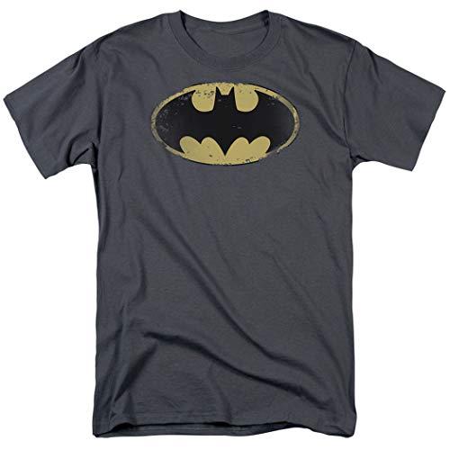 Batman Logo Distressed Vintage DC Comics T Shirt & Stickers (X-Large) Charcoal