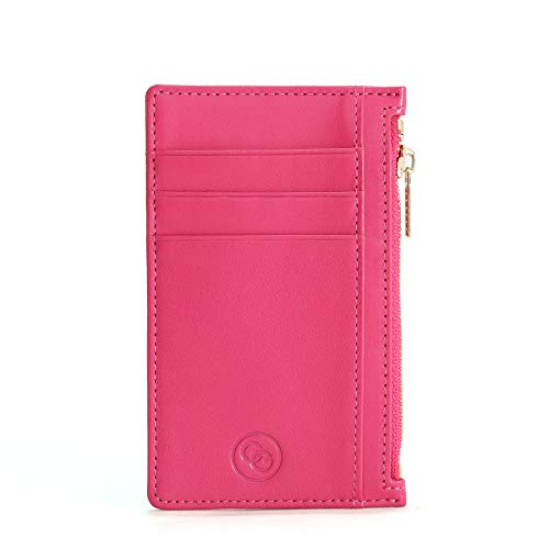 Cg Rfid Purse For Women Slim Leather Card Holder With Free Luxury Gift Box Durable Zip Pocket Minimalist Rfid Blocking Purse Card Wallet To Keep