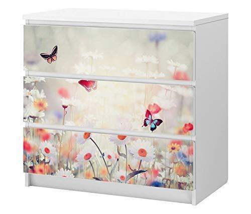 Set Möbelaufkleber für Ikea Kommode MALM 3 Fächer/Schubladen Schmetterlinge blau rot Wiese Blumen bunt Kat2 Kinderzimmer ML3 Aufkleber Möbelfolie sticker (Ohne Möbel) Folie 25C2744