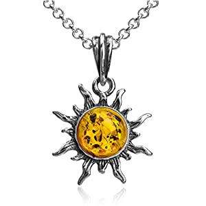 Amber Sterling Silver Flaming Sun Pendant Necklace Chain 18""