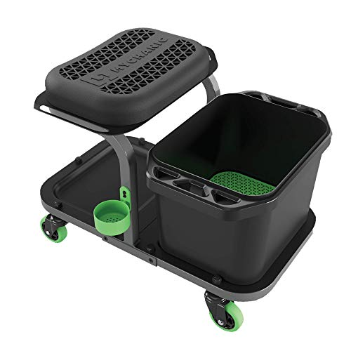 MYCHANIC Rolling Car wash Stool with Bucket Dolly - Heavy-Duty 5 Gallon Car Wash Bucket with Grit Guard - 350 Pound Capacity - Kneeling Pad - Cup Holder - Powder Coated Steel Frame