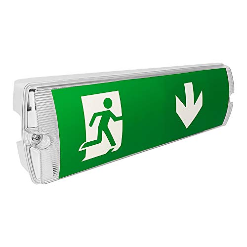 LightHub LED IP65 3hr Emergency Maintained/Non-Maintained Bulkhead Fire Safety Light Fitting with Exit Legends
