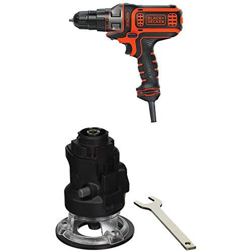 black decker electric drills BLACK+DECKER Electric Drill, 3/8-Inch, 4-Amp with Router Attachment (BDEDMT & BDCMTR)