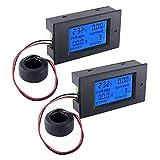 snowtaros 2pcs voltmetro amperometro ac 0-100a 80~220v voltmetro digitale elettrico, misuratore di corrente misuratore di energia, display lcd lettura contatore (ac 100a)