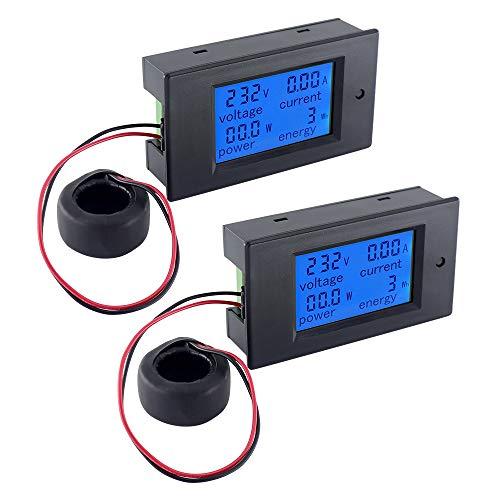 Snowtaros 2pcs Amperímetro Voltímetro AC 0-100A 80~220V Medidor de Electricidad Digital Voltímetro, Probador de Corriente Medidor de Energía, Pantalla LCD Lectura del Medidor (AC 100A)
