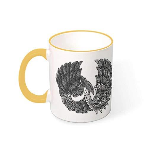 Knowikonwn Taza de café Viking Ravens tazas con mango de cerámica divertidas tazas - Halloween goldenrod 330ml