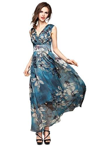 Joy EnvyLand Women V-neck Flower Prom Party Tunic Long Cocktail Beach Dress, Blue, Large