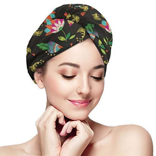 Toalla de secado rápido para el cabello, turbante de cabeza súper absorbente de microfibra floral étnico colorido para ducha, spa, sauna, playa, gimnasio